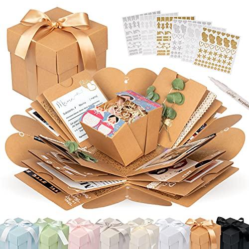 weddlyn® – Überraschungsbox – hochwertiges Papier & Verarbeitung – Explosionsbox mit modernen Stickern und Stift – Explosion Box – Foto Pop up Box inkl. Anleitung – braun (matt)