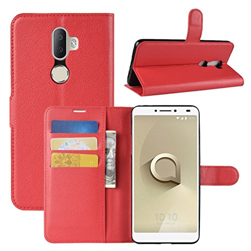 HualuBro Alcatel 3V Hülle, Leder Brieftasche Etui LederHülle Tasche Schutzhülle HandyHülle [Standfunktion] Handytasche Leather Wallet Flip Hülle Cover für Alcatel 3V (Rot)