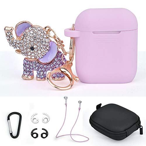 Compatible for Airpods Case Keychain TOROTOP 7 in 1 Silicone Protective Airpod Case Cover Accessories with Bling Elephant Keychain/Strap/Storage Box for Airpod 2/1 Charging Case(Lavender Purple)