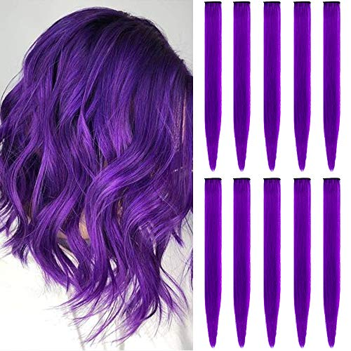TOFAFA 22 inch Colored Hair Extensions Straight Hairpiece, Multi-colors Party Highlights Clip in Synthetic Hair Extensions for Kids Girls(10pcs Purple)