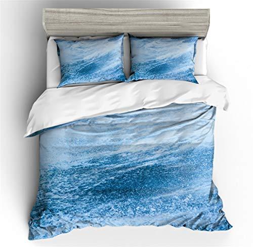 Stillshine Funda Nórdica Ola del océano Tumbling Verano Oceano Superficie del Agua Olas enormes Impresión Azul Blanco Ropa de Cama Delfín Funda nórdica (Mar Ola 8,200x200 cm - Cama 135)