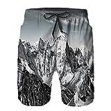YZBEDSET Bañador De para Hombre Pantalones Playa Shorts, Vista Espectacular de Las montañas Himalaya Peak Paisaje Viajando Secado Rápido Ligero Baño Cortos S