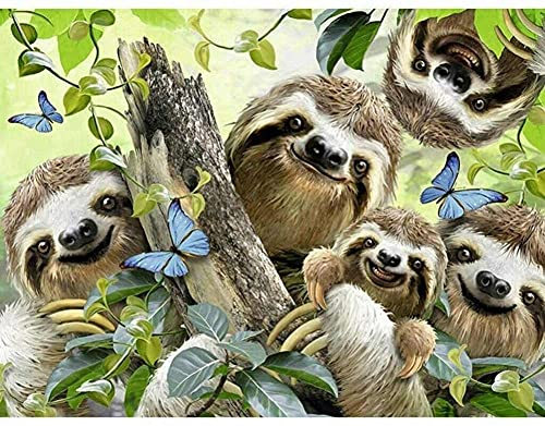 5D DIY Diamond Painting Kits for Adults/Kids Cute Sloth Full Drill Large Diamond Art Crystal Rhinestone Cross Stitch Embroidery Canvas Mosaic Pictures Home Wall Decor Gift Round Drill 60x90cm