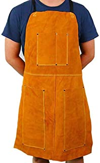 Leather Welding Apron Blacksmith Apron, Heavy Duty Flame Retardant Welder Work Apron, Unisex Adjustable Work Shop Protective Clothing, Carpentry, Torch Work, Roofing, Woodworking DHWQ04