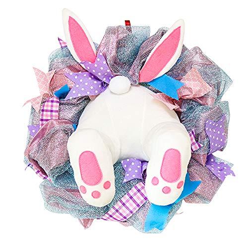 YAOQI Corona de Pascua, decoracin de Pascua, corona de conejito de Pascua, puerta delantera, orejas de conejo, decoraciones de Pascua, adornos para colgar coronas artificiales