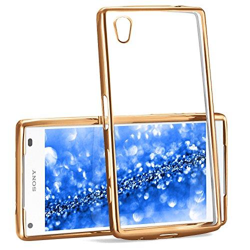 MoEx® Transparente Silikonhülle im Chrome-Style kompatibel mit Sony Xperia Z5 Compact | Flexibler Schutz mit Hochglanz Metallic Rahmen, Gold