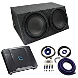 Universal Car Stereo Hatchback Sealed Dual 12' Alpine Type R R-W12D2 Sub Box Enclosure with R-A75M Amplifier & 0GA Amp Kit