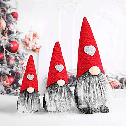 Gnomo di Natale Decorazioni Natalizie, 3 Pezzi Gnomo di Natale Mini Bambola di Stoffa Fatta a Mano...