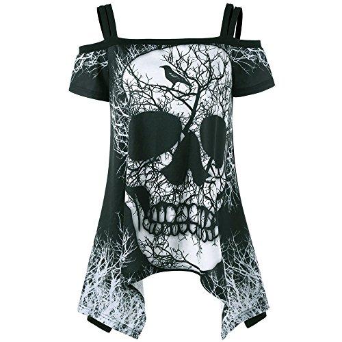 YEBIRAL Damen Schulterfrei Kurzarm Shirt Bedrucken Totenkopf T-Shirt Mode Casual Sommer Skull Tops Pullover Asymmetrischer Tank Top(Y-Schwarz, S)