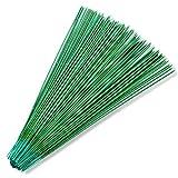 100 piezas de alambre de tallo floral de 30,48 cm, calibre 18, alambre de tallo verde oscuro para...