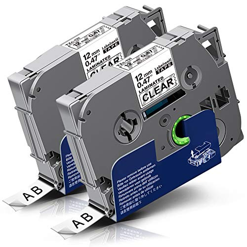 2x Labelwell 0.47 12mm x 8m Sostituzione Nastro Compatibile per Brother Tz Tze-131 Tze131 Tz131 Nero su Trasparente per Brother P-Touch PT-H100R PT-H100LB PT-D400 PT-E100VP PT-E300VP PT-E100 PT-H105
