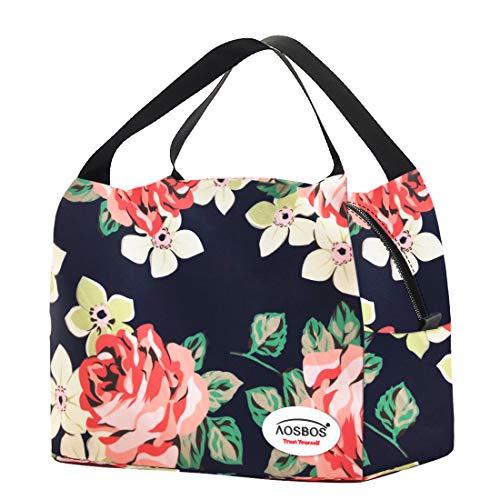 Kühltasche Klein Leicht Lunch Tasche Isoliertasche zur Arbeit Schule Faltbar Wasserdicht Reißverschluss 8,5L Blumen Navy