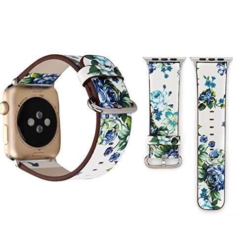 Reloj Decorativo For Apple Seguir Serie 3 y 2 y 1 38mm Manera Simple del Estilo El pastoreo del Estampado de Flores pequeño Reloj de Las Mujeres de Cuero de Banda for la muñeca (Color : Color1)