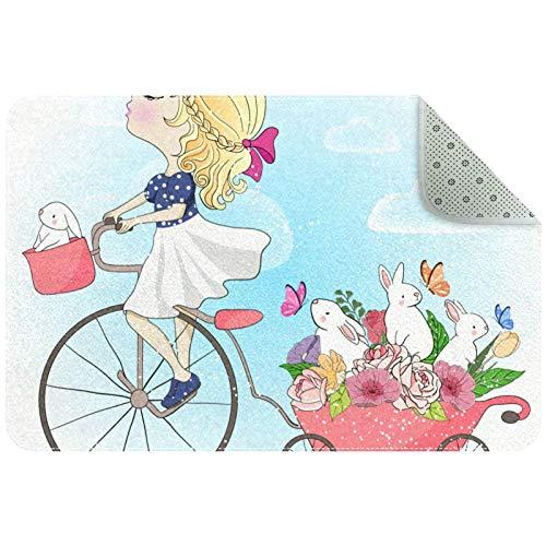 Felpudo de ciclismo para niña, absorbe el barro, sin olor, duradero, antideslizante, de perfil bajo, alfombrilla grande de algodón para zapatos, alfombrilla para mascotas