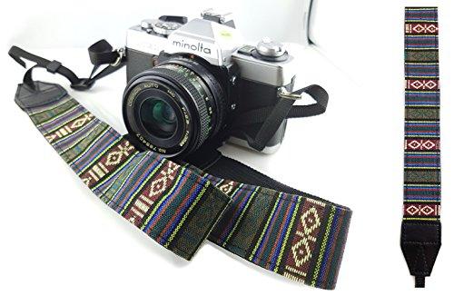Kameragurt Schultergurt - Vintage Retro - Olive-grün Trageriemen Tragegurt Schulterriemen für DSLR & Kompaktkameras, sicherer Schulterpolster von MIND CARE ESSENTIALS (o/g)