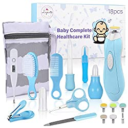 Baby Healthcare and Grooming Kit, 18 in 1 Baby Electric Nail Trimmer Set, Lupantte Nursery Care Kit, Baby Thermometer, Medicine Dispenser, Baby Comb, Brush, Nail Clippers, etc. Baby Shower Gifts.
