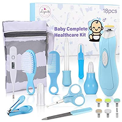 Baby Healthcare and Grooming Kit, 18 in 1 Baby Electric Nail Trimmer Set, Lupantte Nursery Care Kit, Baby Thermometer, Medicine Dispenser, Baby Comb, Brush, Nail Clippers, etc. Baby Shower Gifts. by Lupantte