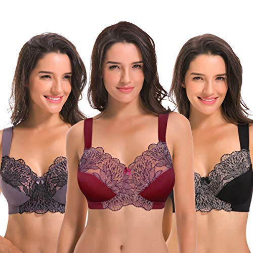 Curve Muse Plus Size Unlined Minimizer Wireless Bras with Embroidery Lace-3Pack-GREY-BURGUNDY-BLACK-34DDD