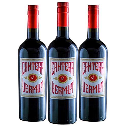 Vermut Cantera Elaborado con uva viura - Macerado en barricas de roble americano - Botella de 0.75 litros (Lote 3 Botellas)
