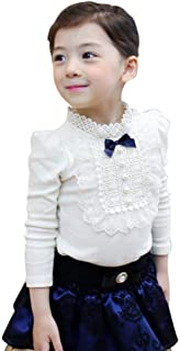 Elegant Baby Kids Girls Bowknot Cotton Lace Long Sleeve Shirt Toddler Blouse Tops
