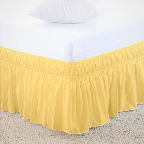 US Bedding Eay Fit Elastic Wrap Around Ruffled Bed Skirt Egyptian Cotton 300 Thread Count(Yellow, Queen, Drop Length 10 Inches)