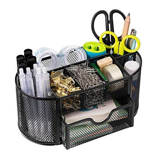TDCQ Organizador de escritorio de metal, portalápices de escritorio, color negro, metal, soporte para bolígrafos, organizador de escritorio, organizador de escritorio