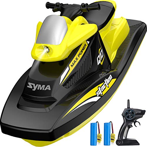 RC Boat for Kids, SYMA Q10 Remote Control Boats for Pools and Lakes with 2.4GHz 10km/h Speedboat, Double Power, Low Battery Reminder, Speed Boat Remote Control Toy for Kids or Adults