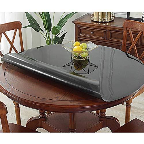 XHNXHN Mantel redondo de PVC de 1,2 mm, transparente, impermeable, para cocina, para restaurar mesa, protector de cristal suave, 100 cm, color negro