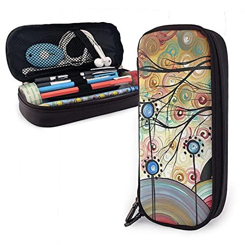 Mengmeng Federmappe mit Frühlingsblumen-Motiv, aus Leder, große Kapazität, Stifttasche, Schreibwaren-Organizer mit Reißverschluss, Aufbewahrungsbox, Make-up-Tasche, Kosmetiktasche
