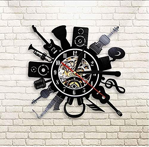 SSCLOCK Guitarra eléctrica acústica Arte de la Pared decoración Reloj de Pared...