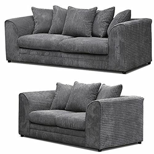 HHI - Jumbo Cord Corner Sofa, 3+2 Seater sofa Settee, Full Jumbo Cord Fabric in Grey, sofa sets for living room 3 2 (Grey, 3+2 Seater Sofa)
