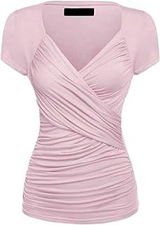Keaac 女性の半袖クロスフロントラップVネックトップスリムフィットTシャツ