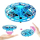 RACPNEL Hand Operated Drones for Kids or Adults, Hand-Controlled Flying Ball, Infrared Induction Interactive Mini Drone Helicopter with LED Lights and, Flying Toys for Boys or Girls (Blue)