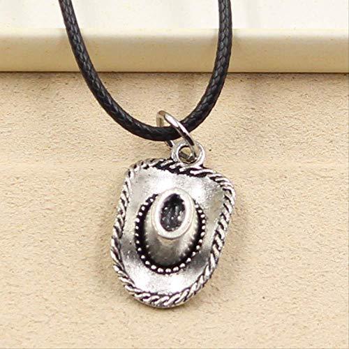 xtszlfj Tibetische Silber Farbe Anhänger Cowboy Hut Halskette Halsband Charme schwarz Leder Schnur