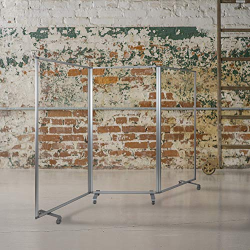 Flash Furniture Mobile Freestanding Clear Room Divider Partition Portable Roll Up Banner Sneeze Guard for Offices, Restaurants, Lobbies and Other Public Areas