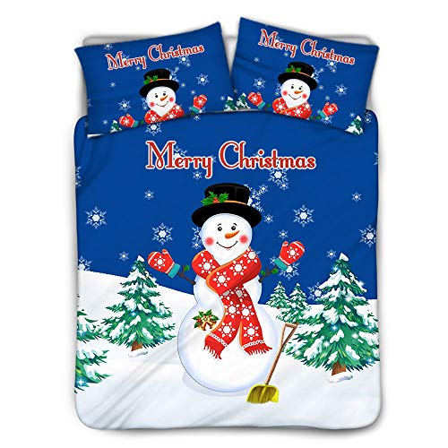ZXXFR Duvet Cover Set Printed Christmas snowman trees,Bedding Quilt Cover Soft Breathable for Girls Boys 3 Pieces (1 Duvet Cover + 2 Pillow cases)-200x200CM