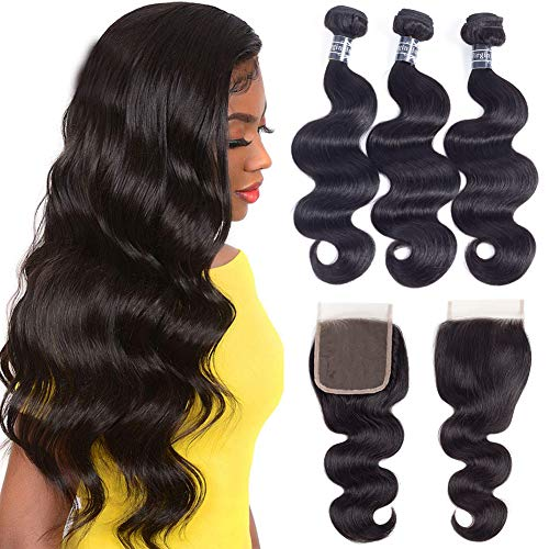 Amella Hair Brazilian Body Wave Hair Bundles with Closure(18 20 22 +16 Free Part),8A 100% Unprocessed Brazilian Virgin Body Wave Hair Weave with 4x4 Closure Remy Hair
