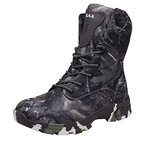 Herren Wanderstiefel Camouflage Halbhoch Training Taktische Stiefel Military Combat Boots für Outdoor Camping Wandern Bergsteigen Wüsten Trekkingstiefel Riou
