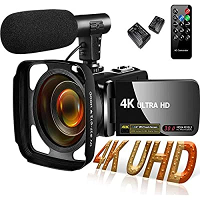 4K Video Camera Camcorder,Video Camcorder 30MP 18X Digital Zoom Touch Screen Webcam Vlogging Camera for YouTube with Microphone, Action cam Mount from SAULEOO