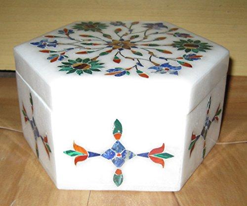 Bianco marmo intarsio lavoro box Artist Haat Handcrafted Soapstone box 10,2x 10,2cm