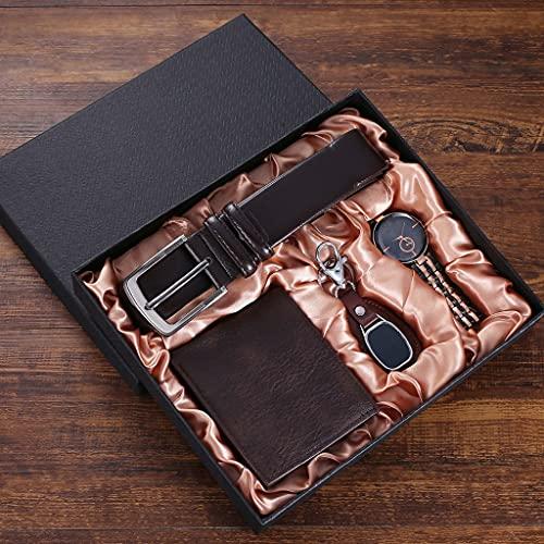 HGVVNM 4 pièces/ensemble ensemble-cadeau pour hommes montre exquise ceinture en cuir portefeuille lunettes porte-clés costume ensemble-cadeau pour hommes petit ami papa livraison directe