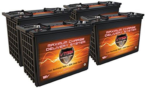 Qty(4) Xtr12-155 Group GC12 Golf Cart 12v AGM SLA Battery, Trojan T1275 Replacement