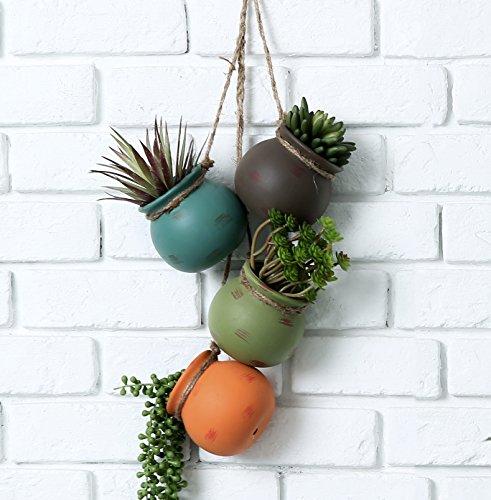 MyGift Dangling Southwest Desert Color Ceramic 4 Pot Set, Wall or Ceiling Mount Hanging Mini Flower Planters