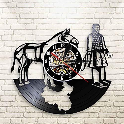 N / A 3D-7 Farbe Licht-USB-Terrakotta-Krieger Uhr China Championship Antique Vinyl Record Uhr Qin Dynasty War Horse Warrior Watch