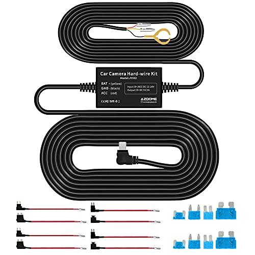 AZDOME Mini USB 12V-24V bis 5V/3A Dashcam Hardwire Kit mit ACU/ ACN/ ACZ/ ACS Fügen Sie einen Sicherungshalter, Niederspannungsschutz für M550/ PG02S/ PG16S/ PG16 Autokamera(JYX02)