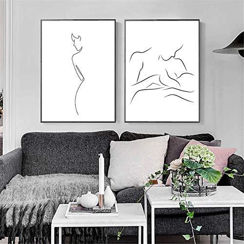 Surfilter Print auf Leinwand Abstract One Line Feature Poster und Drucke Mutter und Baby Gemälde an der Wand Sexy Figur Wandkunst Dekor für Zuhause 23.6ABC 22 rdquo; x 35.4ABC 22 rdquo; (60x90cm)