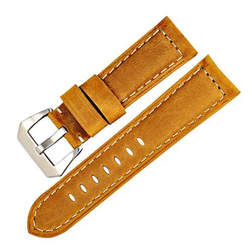 Banda de Reloj de Cuero 22/24/26mm Reloj Vendimia de los Accesorios de Cuero Correa de Reloj Trigo S, 22mm