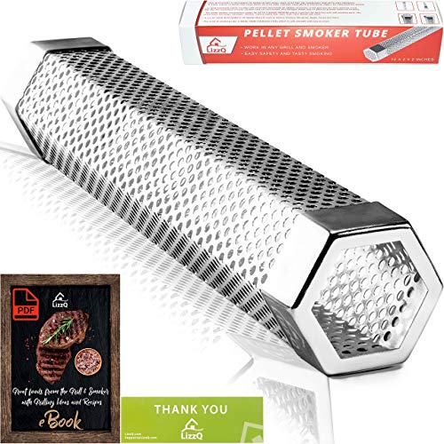 LIZZQ Premium Pellet Smoker Tube 12 inches - 5 Hours of Billowing Smoke - for Any Grill or Smoker, Hot or Cold Smoking - Easy, Safety and Tasty Smoking - Free eBook Grilling Ideas and Recipes