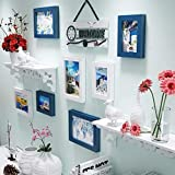 DAGCOT Cadre photo Collage famille Creative Sculpté photo mur simple en bois massif Photo Collage Cadre noir blanc Tailles multiples 7 Farmes Home Office Grand restaurant multi images Cadres photo mur