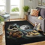 Veryday Alfombra moderna para el salón o la puerta, diseño de gato y luna, 91 x 152 cm, color blanco